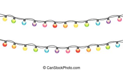 Multicolored Garland Lamp Bulbs Festive on White Background Vect
