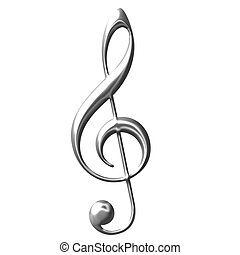 3D Silver Treble Clef - 3d silver Treble Clef isolated in...