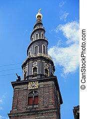 View of the Vor Frelsers Kirke Tower in Copenhagen, Denmark