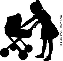 Young girl playing with a pram.