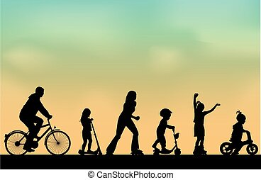 People outdoors  vector background.