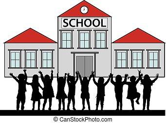 Children in front of the school.