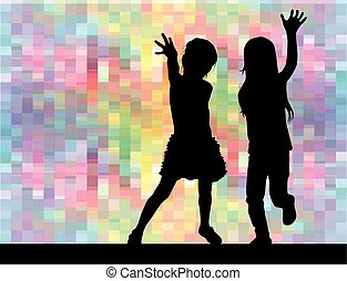 Silhouettes of girls on the abstract background.