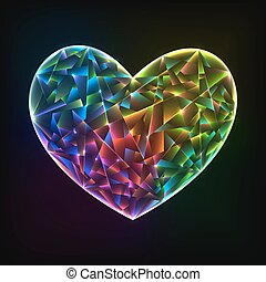 Glowing colorful glass heart