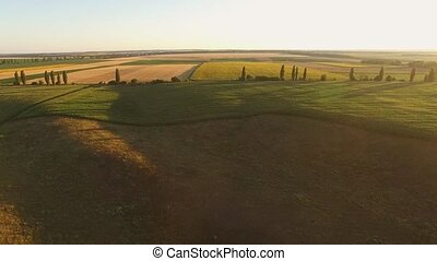 Aerial view of fields Cloudless sky at sunrise Vastness of...