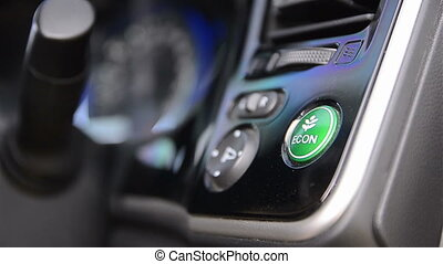 Close up shot hand of man pushing eco button shallow depth...
