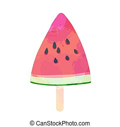Watermelon slice vector illustration - Watermelon ice cream...