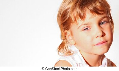 hi key portrait of little girl white background