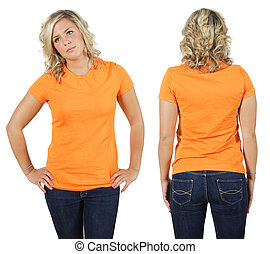 Female with blank orange shirt - Young beautiful blond...