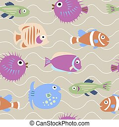 Seamless pattern with marine fish with waves - Seamless...