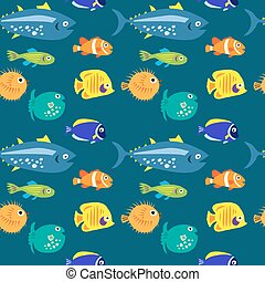 Seamless pattern with sea fish on a blue background -...