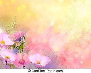 Cor-de-rosa, óleo, natureza, cima, mão, pintura, flores,...