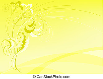 abstract yellow background with floral elements