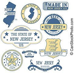 New Jersey generic stamps and signs - New Jersey Set of...