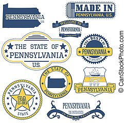 Pennsylvania generic stamps and signs - Pennsylvania. Set of...