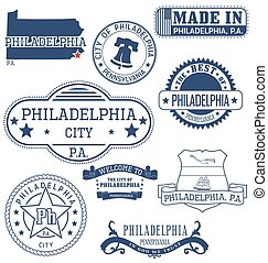 Philadelphia city, PA, generic stamps and signs -...