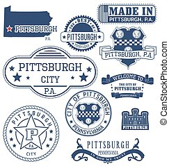 Pittsburgh city, PA, generic stamps and signs - Pittsburgh...