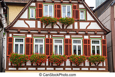 Autumn Calw city house in Germany - Wall of old house with...
