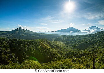 Panorama of Batur Volcano on the Bali island, Indonesia.