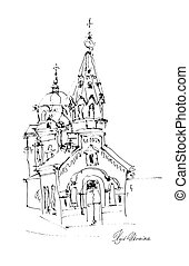 black and white freehand sketch drawing of Church in Podol...