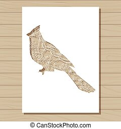 stencil template of cardinal bird on wooden background -...