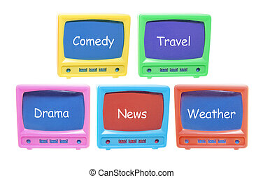 Plastic Miniature TV Sets on White Background
