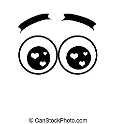 cartoon eyes with a lot of flare. love - round eyes with...