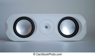 Closeup of set of round audio speakers isolated - Closeup...