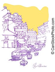 freehand sketch drawing of Podol street in Kyiv Ukraine,...