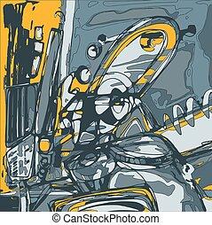 Composição, Abstração, nós, lata,  digital, tu, quadro,  Original