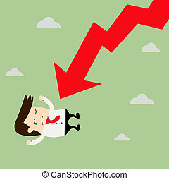 Businessman On Falling Down Chart. vector