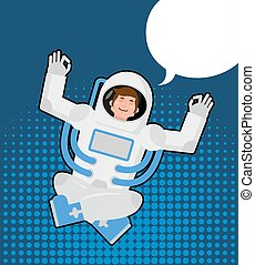 Astronaut meditates in a pop art style. Bubble for text. Zen...