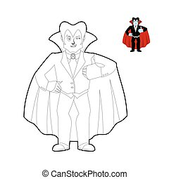 Dracula coloring book. Vampire Count in linear style. Funny ghoul cloak