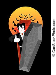 Dracula in coffin Thumbs up shows well Vampire winks Sign...
