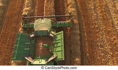 Top view of moving combine.