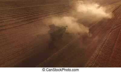 Combines in clouds of dust.