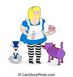 Fat old Alice in Wonderland. Mythical Cheshire cat. White...