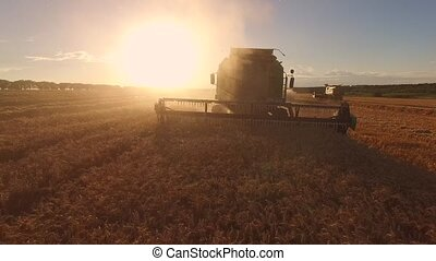 Combine on sun background.