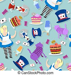 Alice in Wonderland pattern. Fat woman and Cheshire cat. Rabbit in hat. Cylinder is Mad Hatter. Magic Potion and piece of cake