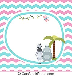 Greeting card with zebra and hippo.