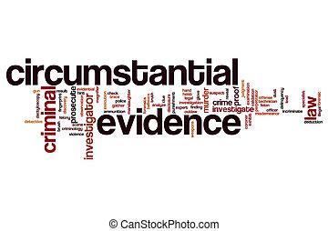 circumstantial, palabra, nube, evidencia