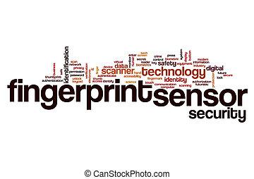 Fingerprint sensor word cloud concept