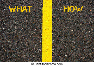 WHAT and HOW words separated by Road marking yellow line,...