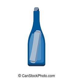 Bottle with Letter - Glass bottle with note vector icon....