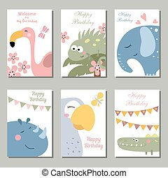 Collection of cute Birthday cards.