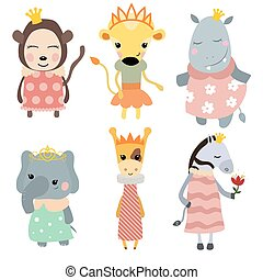 Set of Princess animals. Collection of animals dressed as...