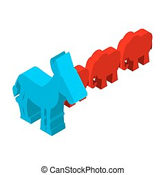 Red Elephants against blue donkey Symbols of USA political...