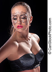 young woman with lace makeup - portrait of beauty young...