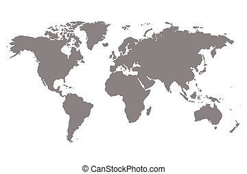 Grey blank world map. - Worldmap vector template. World map...