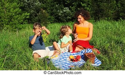 mother daughter and son sits in grass near trees and eats vine and peach